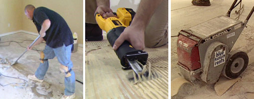Vinyl floor tile removal tools