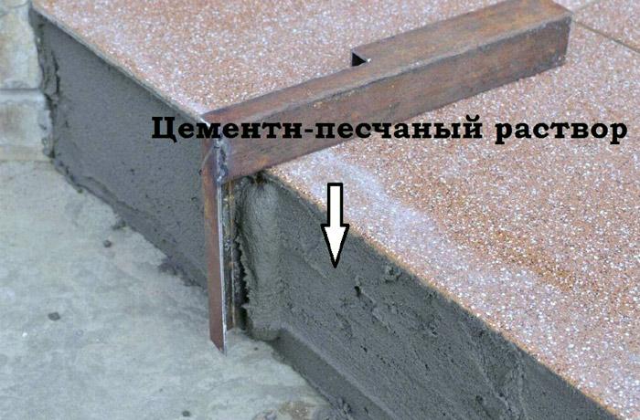 Облицовка крыльца плиткой.  Выравнивание торца