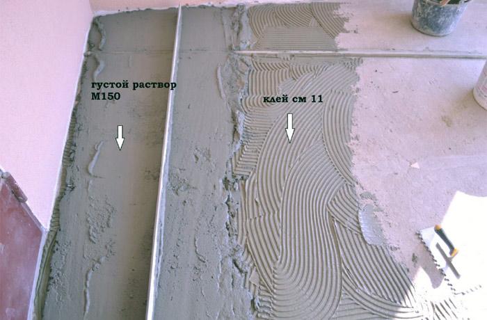 Облицовка крыльца плиткой. Клей и цементно песчаный раствор.
